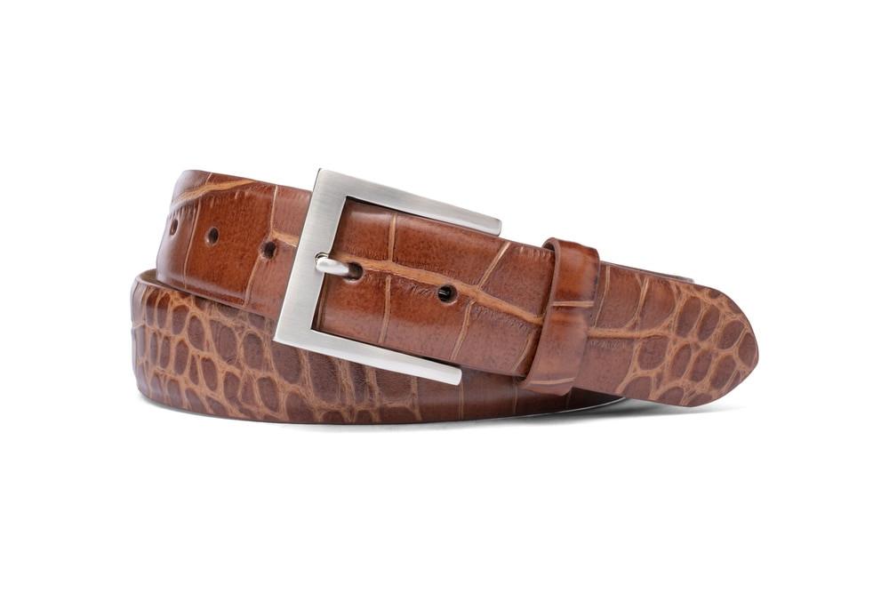 Cognac Embossed Crocodile Belt with Brushed Nickel Buckle