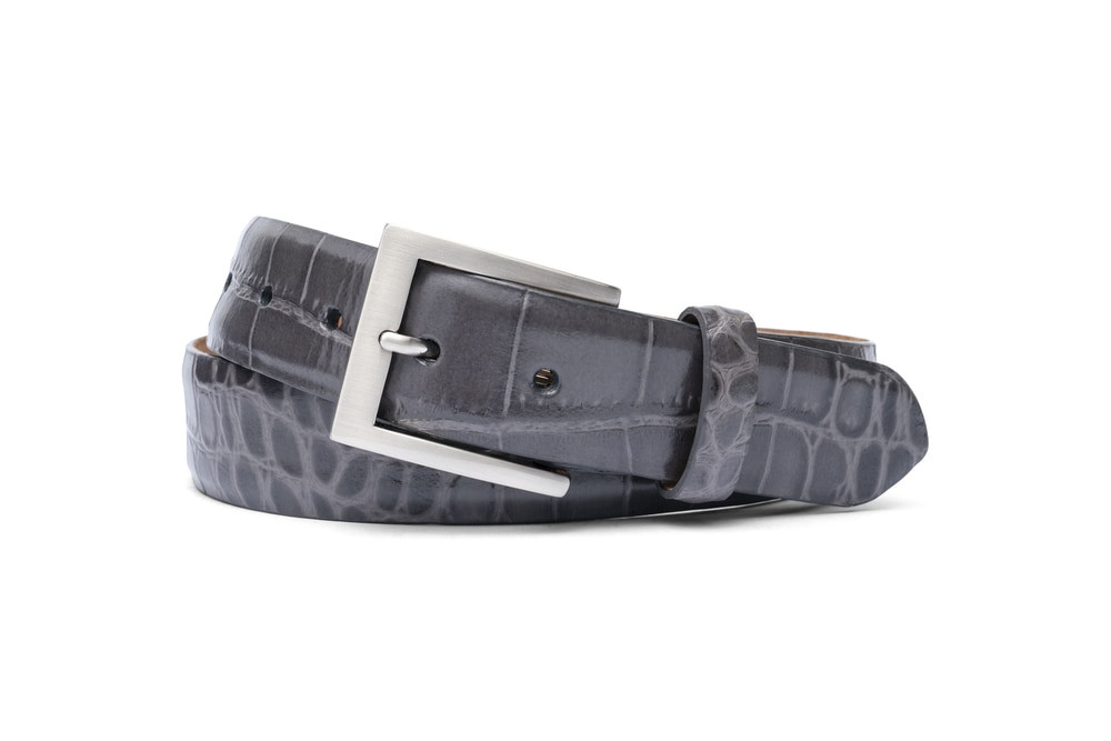 Grey Embossed Crocodile Belt with Brushed Nickel Buckle
