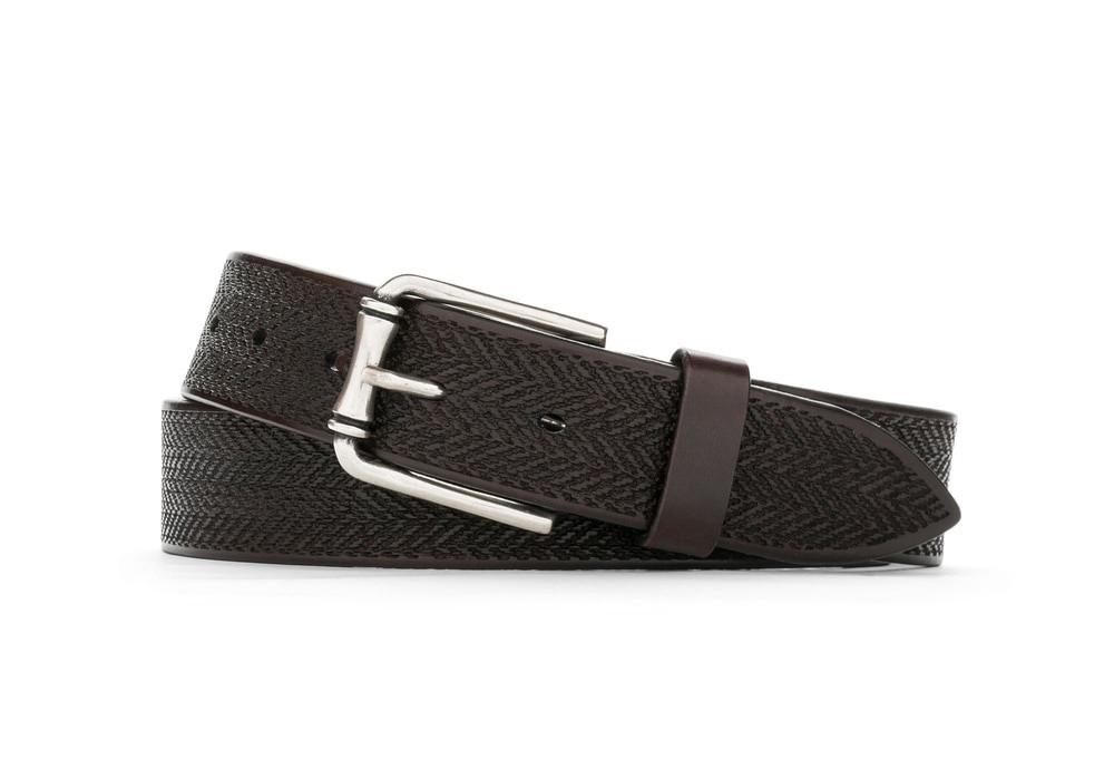 Chocolate Italian Tracks Belt with Nickel Buckle