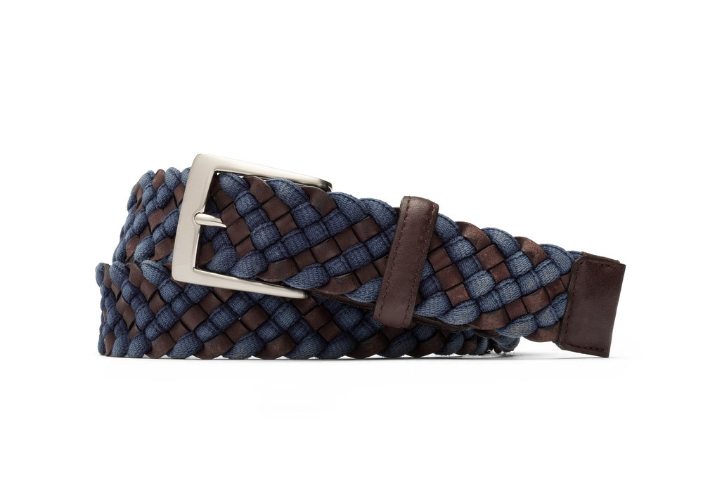 Blue Leather Cloth Braid Belt with Brushed Nickel Buckle