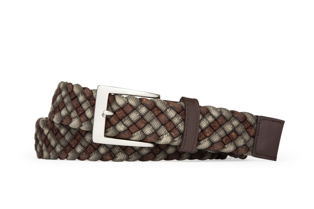 Grey Leather Cloth Braid Belt with Brushed Nickel Buckle
