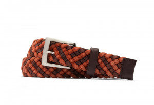 Orange Leather Cloth Braid Belt with Brushed Nickel Buckle