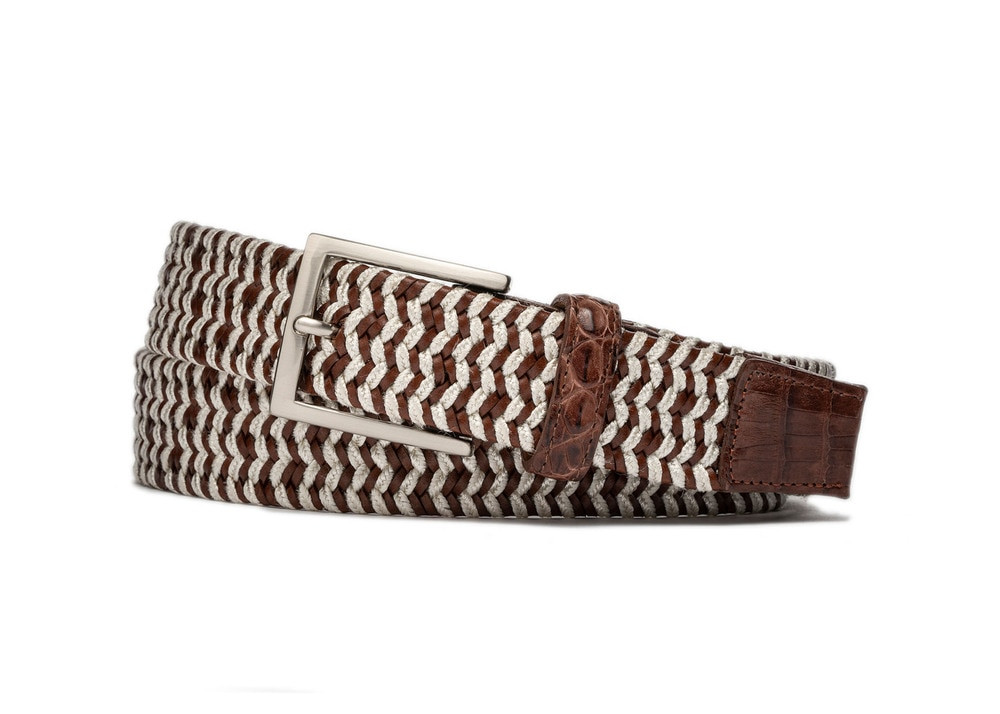 Pearl Leather Stretch Belt with Croc Tabs and Brushed Nickel Buckle