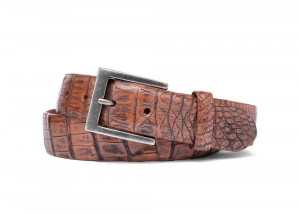 Antique Honey Vintage Crocodile Belt with Antique Nickel Buckle