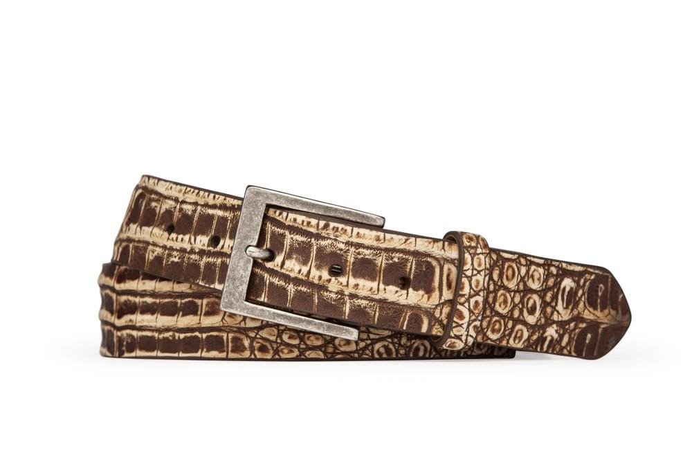 Peanut Sundance Vintage Crocodile Belt with Antique Nickel Buckle