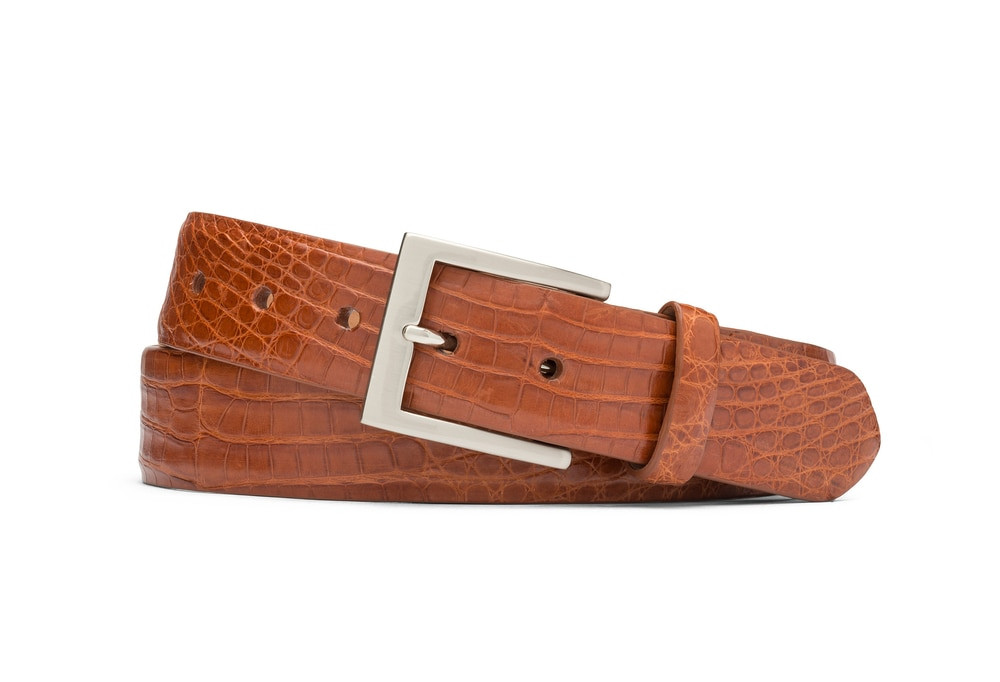 Brandy Caiman Crocodile Belt with Brushed Nickel Buckle
