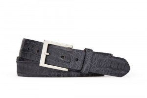 Navy Caiman Crocodile Belt with Brushed Nickel Buckle