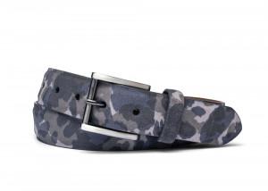 Navy Sueded Camo Belt with Gunmetal Buckle