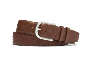 Kango Quilled Ostrich Belt with Brushed Nickel Buckle