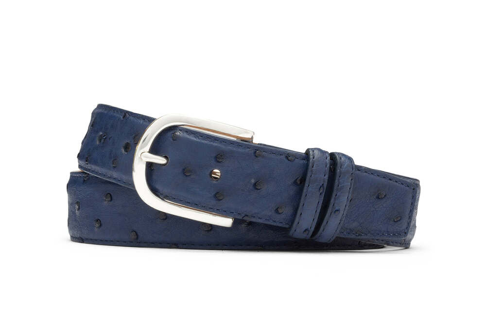 Malta Blue Quilled Ostrich Belt with Brushed Nickel Buckle