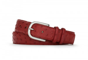 Red Quilled Ostrich Belt with Brushed Nickel Buckle