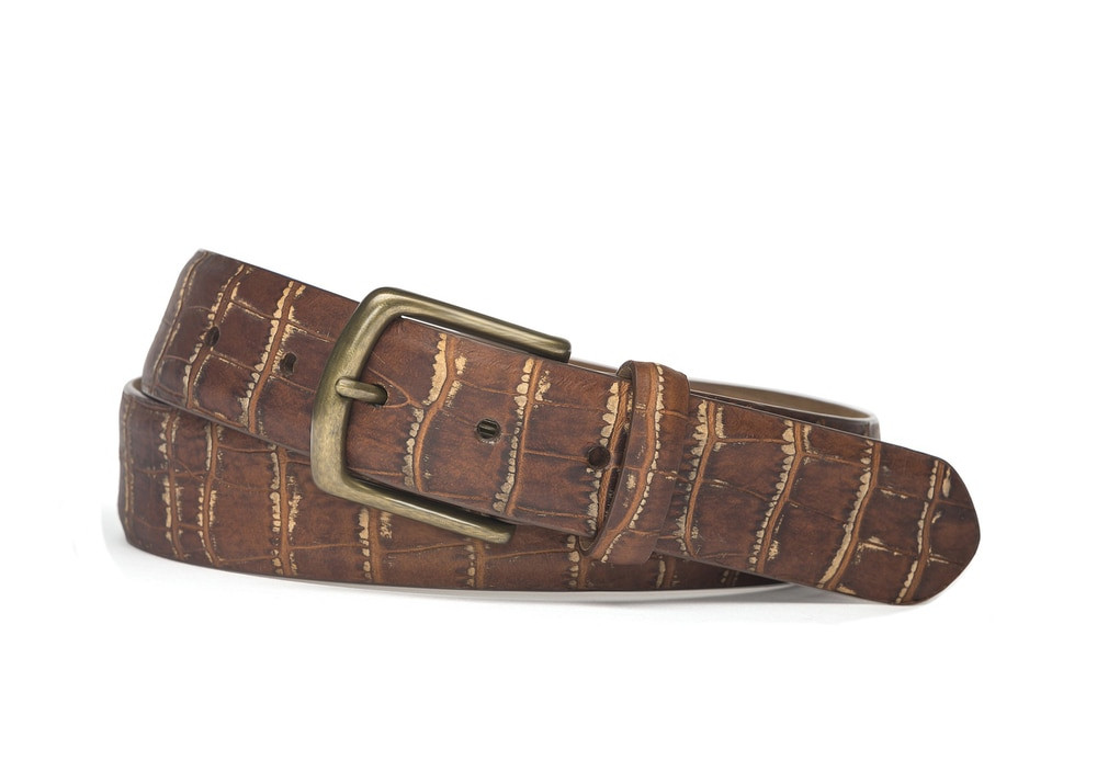 Brown Distressed Congo Calf Belt with Brass Buckle