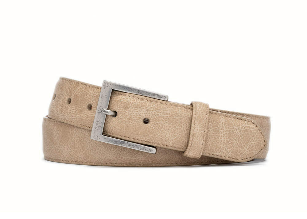 French Vanilla Outlaw Calf Belt with Antique Nickel Buckle