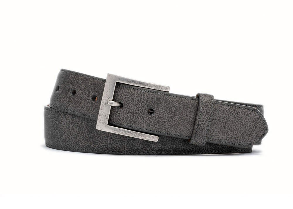 Grey Outlaw Calf Belt with Antique Nickel Buckle