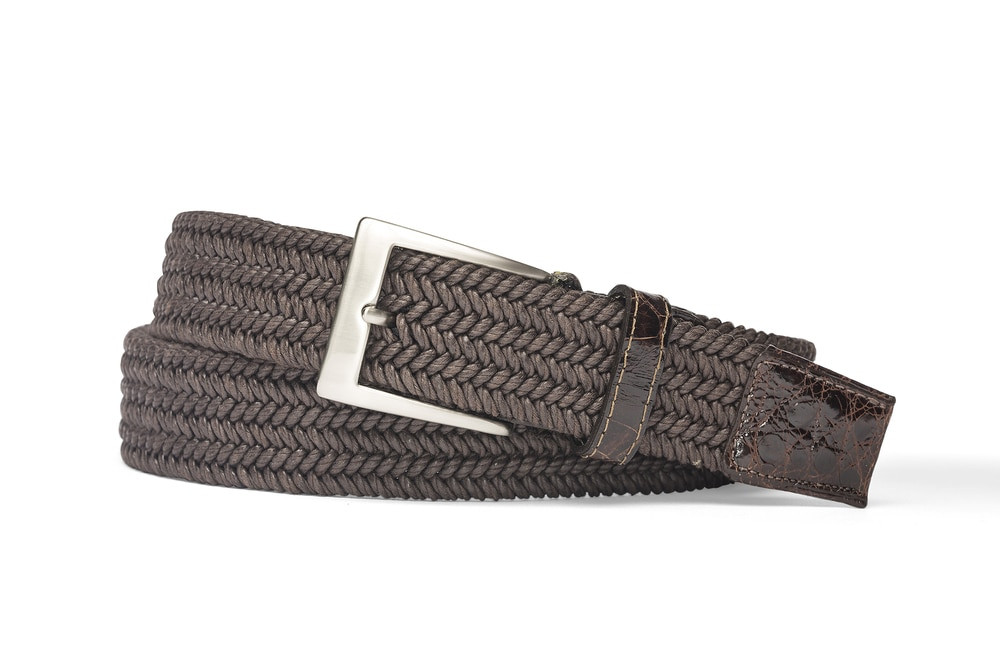 Chocolate Solid Stretch Belt with Crocodile Tabs