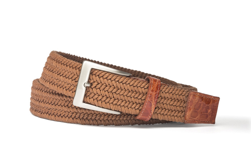 Cognac Solid Stretch Belt with Crocodile Tabs
