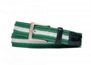 Birdie Stretch Belt with Croc Tabs and Brushed Nickel Buckle