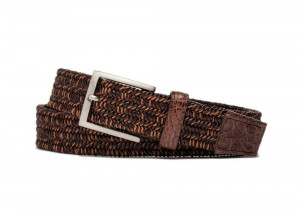 Chai Stretch Belt with Croc Tabs and Brushed Nickel Buckle