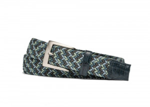Cool Mint Stretch Belt with Croc Tabs and Brushed Nickel Buckle