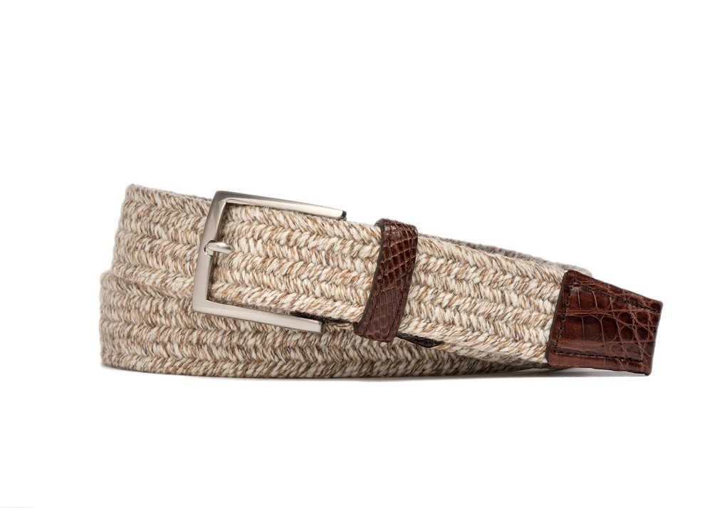 Creme Stretch Belt with Croc Tabs and Brushed Nickel Buckle