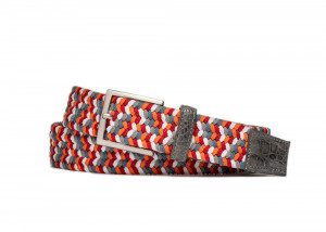 Flame Stretch Belt with Croc Tabs and Brushed Nickel Buckle