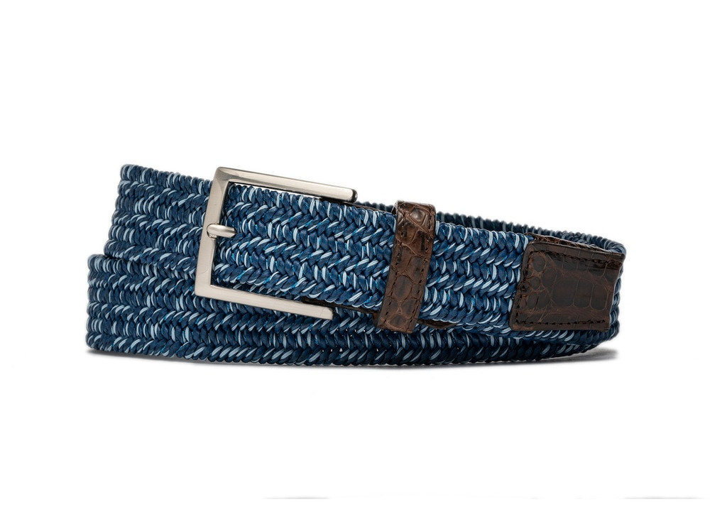 Glacier Stretch Belt with Croc Tabs and Brushed Nickel Buckle