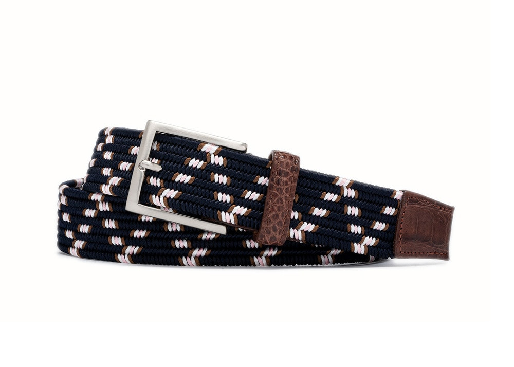 Hartford Stretch Belt with Croc Tabs and Brushed Nickel Buckle