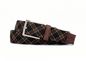 Hazelnut Plaid Stretch Belt with Croc Tabs and Brushed Nickel Buckle