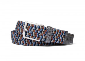 London Stretch Belt with Croc Tabs and Brushed Nickel Buckle