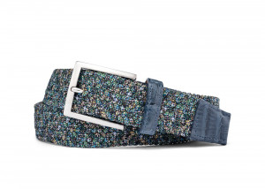 Marble Stretch Belt with Croc Tabs and Brushed Nickel Buckle