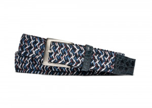 Marine Stretch Belt with Croc Tabs and Brushed Nickel Buckle