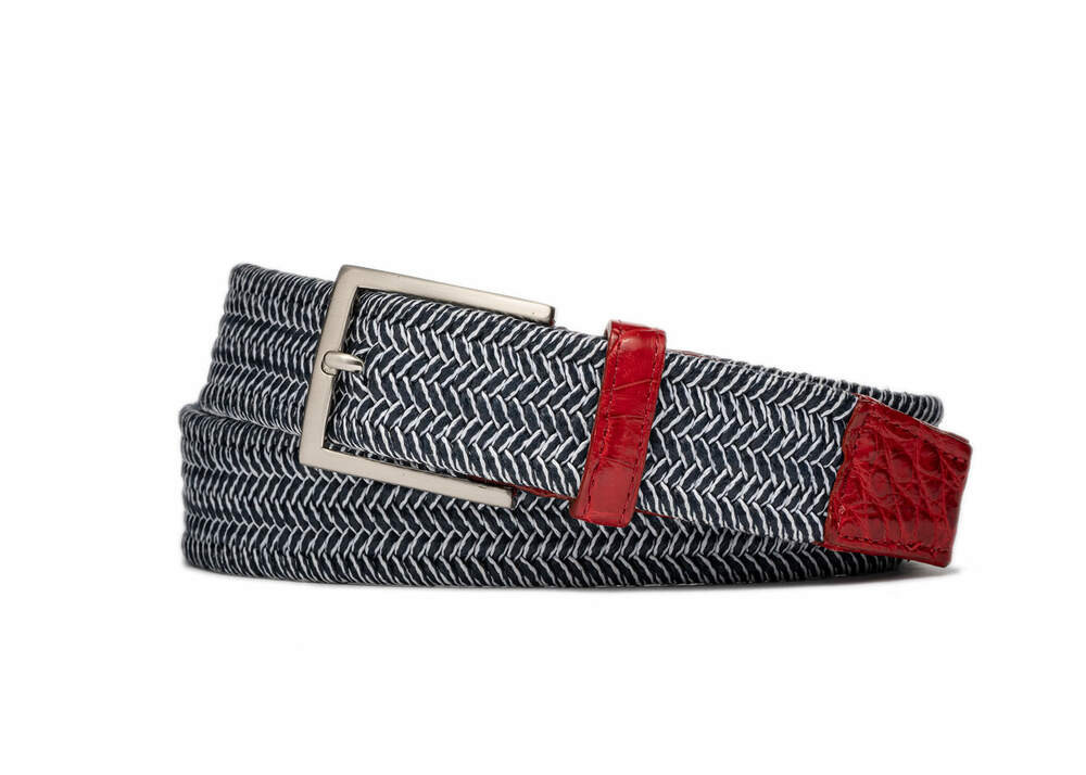 Nantucket Stretch Belt with Croc Tabs and Brushed Nickel Buckle