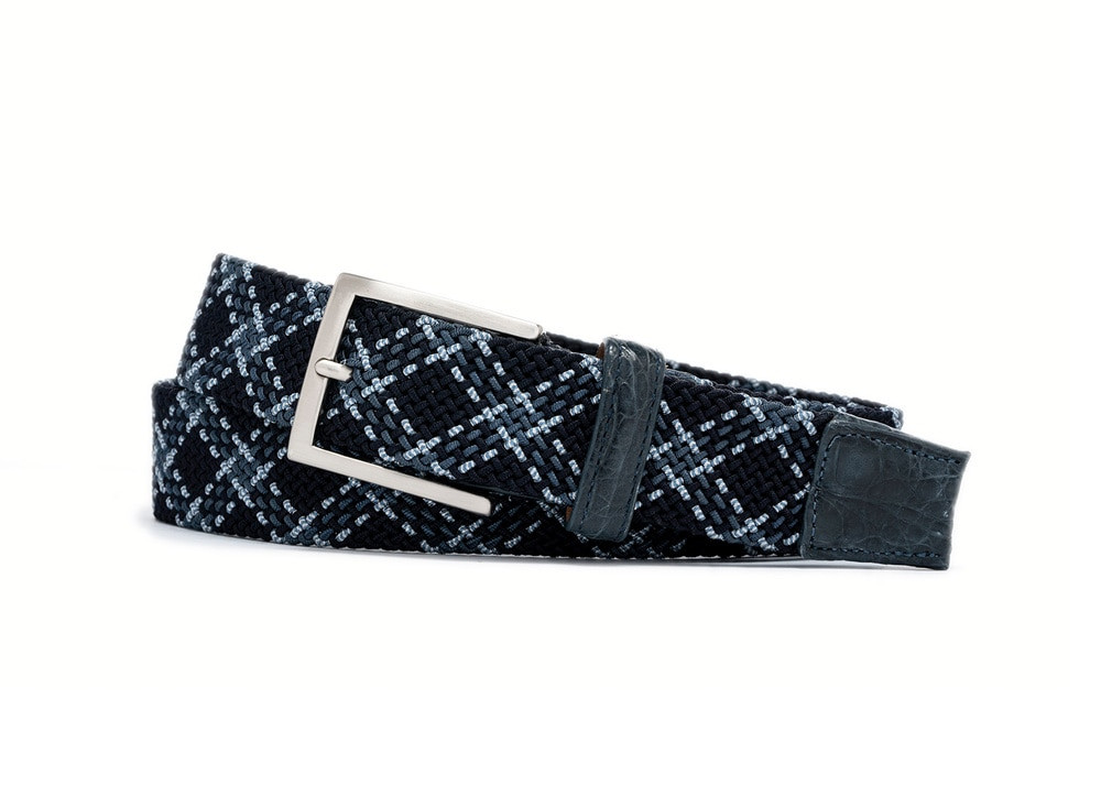 Pacific Plaid Stretch Belt with Croc Tabs and Brushed Nickel Buckle