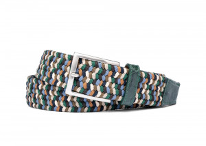 Pine Stretch Belt with Croc Tabs and Brushed Nickel Buckle