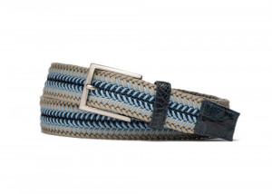 Shoreline Stretch Belt with Croc Tabs and Brushed Nickel Buckle