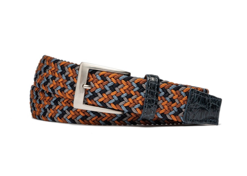 Tangerine Stretch Belt with Croc Tabs and Brushed Nickel Buckle