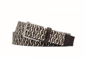 Tiramisu Stretch Belt with Croc Tabs and Brushed Nickel Buckle