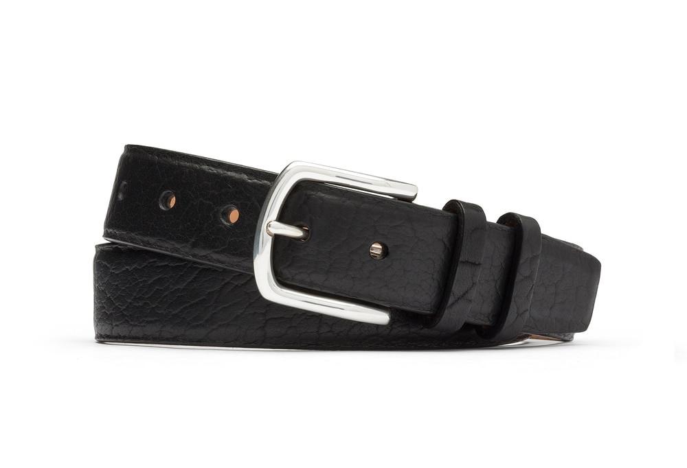 Black American Bison Belt with Nickel Buckle