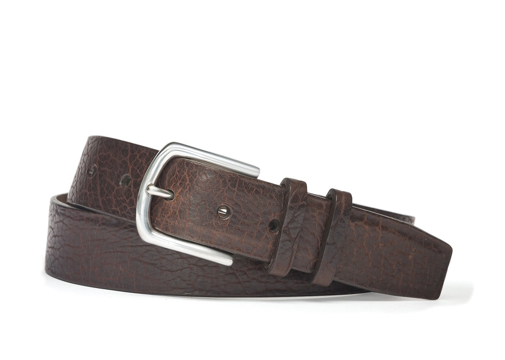 Chocolate American Bison Belt with Nickel Buckle