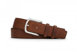 Cognac American Bison Belt with Nickel Buckle