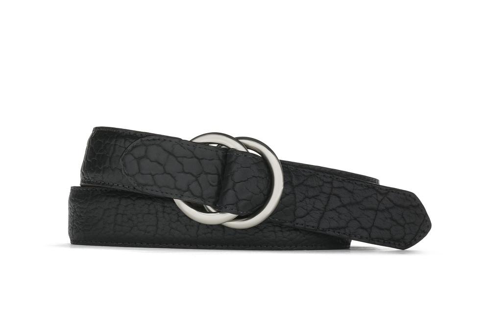 Black American Bison Belt with Oring Buckles