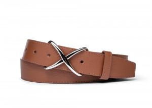 Lion Pebbled Calf Belt with Nickel X Buckle