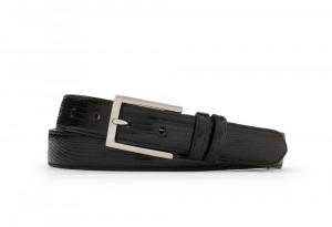 Black Classic Lizard Belt with Nickel Buckle