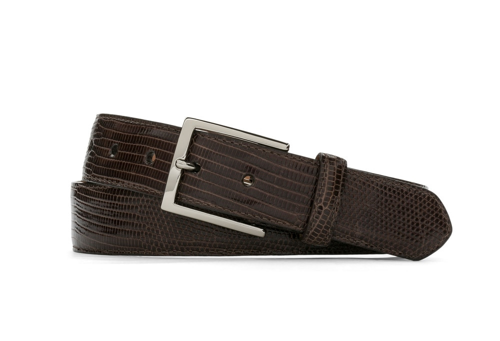 Chocolate Classic Lizard Belt with Nickel Buckle