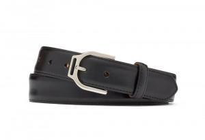 Black Glazed Calf Belt with Ornate Nickel Buckle