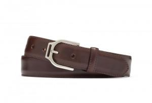 Chocolate Glazed Calf Belt with Ornate Nickel Buckle