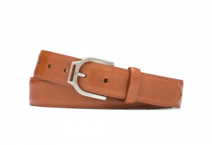 Cognac Glazed Calf Belt with Ornate Nickel Buckle
