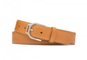 Veg Glazed Calf Belt with Ornate Nickel Buckle
