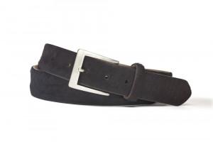 Black Hair Calf Belt with Brushed Nickel Buckle