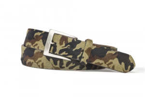 Camo Hair Calf Belt with Brushed Nickel Buckle